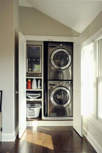 hallway closet is now a laundry