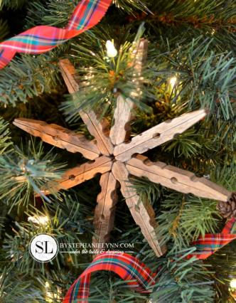by stephanie lynn WoodenClothespinSnowflakeOrnaments