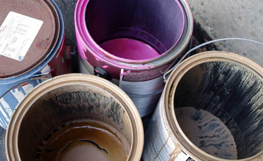 Empty paint cans for recycling