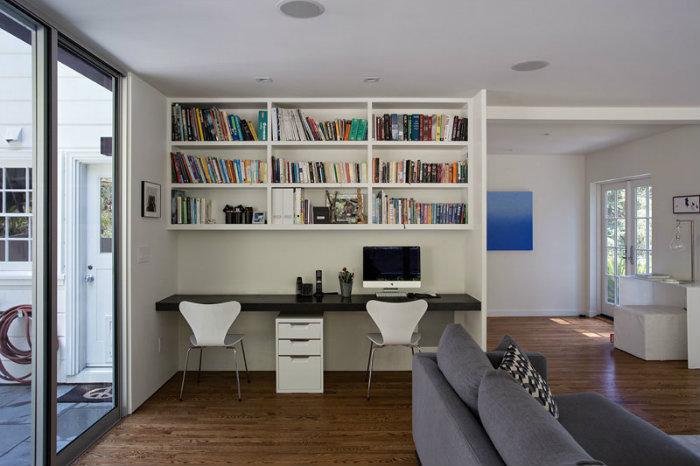 βιβλιοθήκη διαχωριστικό και εντοιχισμένο γραφέιο