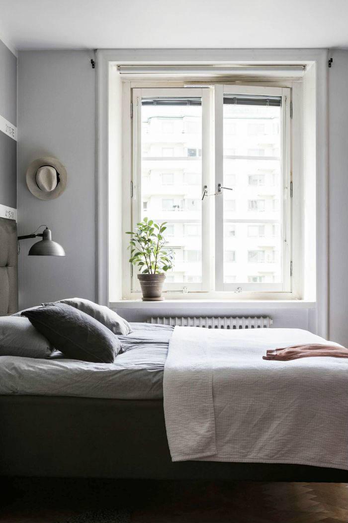 μονοχρωματικη και χαλαρωτικη κρεβατοκαμαρα