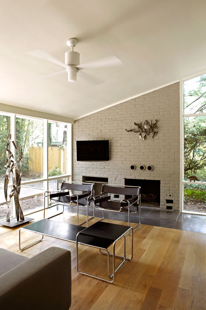 Mid Century Modern Living Room With Fireplace