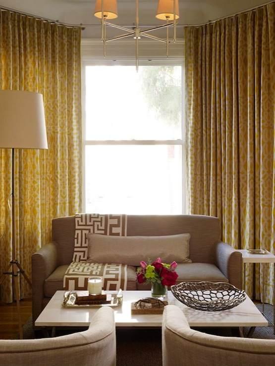 Yellow And Taupe Living Room Curtain Drape