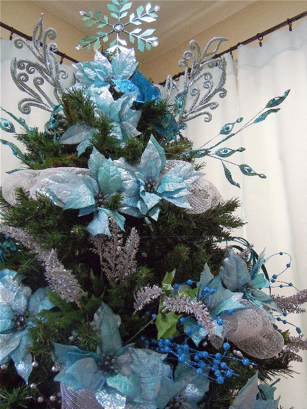 Turquoise And Silver Christmas Tree Fine Design