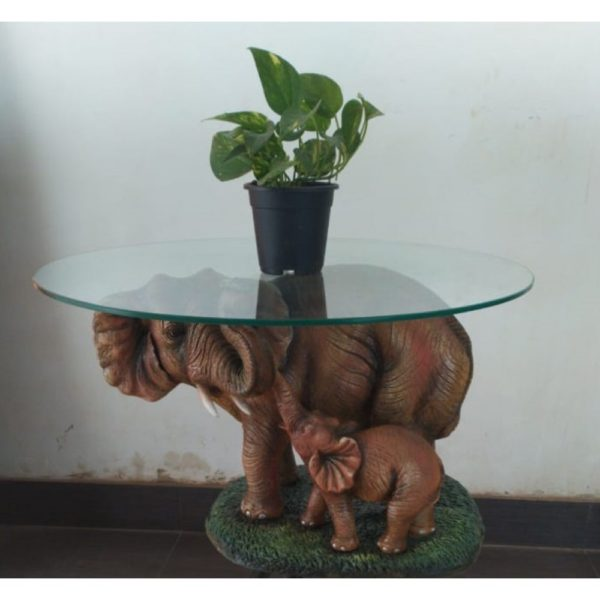 decorative kart elephant with baby elephant calf center table for living room modern coffee table furniture traditional fiberglass home