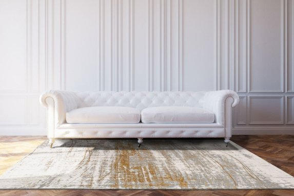 White Luxury Leather Sofa In Classic Design Interior