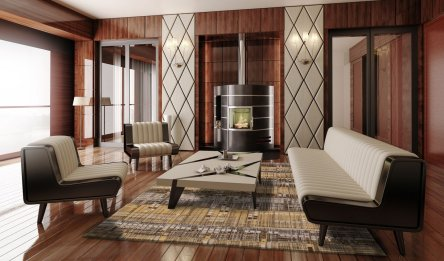 Apartment with a Fireplace