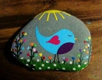 Painted Rocks With Inspirational Picture And Words 80