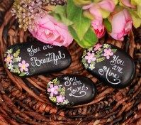 Painted Rocks With Inspirational Picture And Words 84