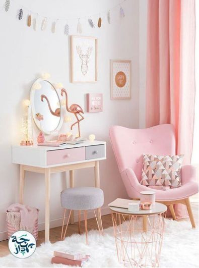 Pink White And Gold Bedroom 11