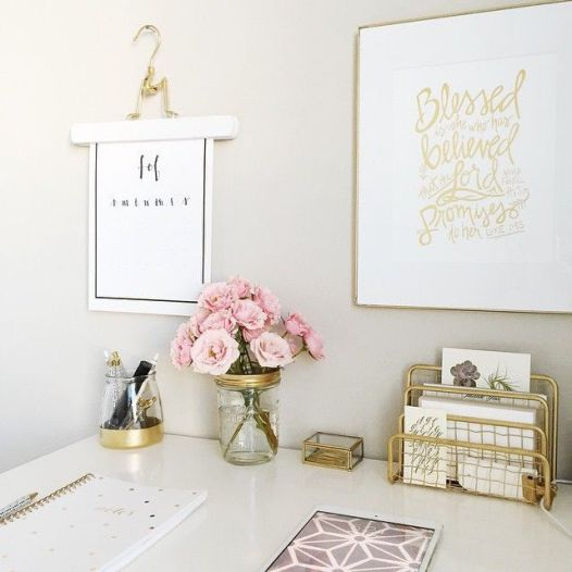 Pink White And Gold Bedroom 15