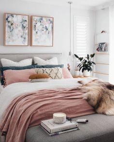 Pink White And Gold Bedroom 25