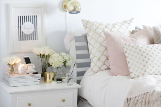 Pink White And Gold Bedroom 31