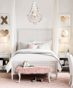 Pink White And Gold Bedroom 32