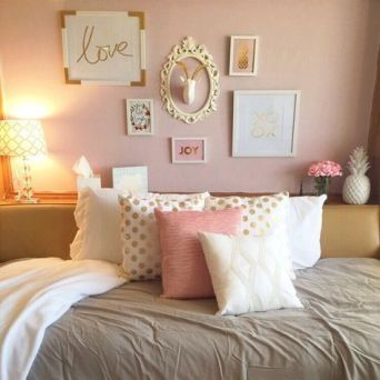 Pink White And Gold Bedroom 63