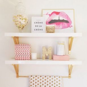 Pink White And Gold Bedroom 86