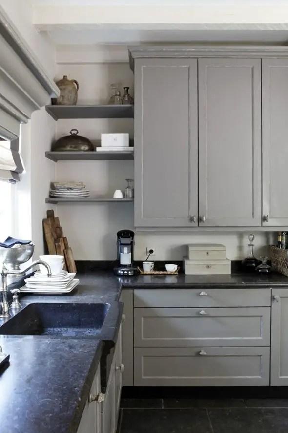 Gray Cabinets Black Countertops 3