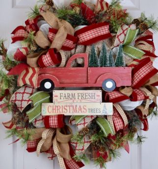 Burlap Christmas Tree Wreath 18