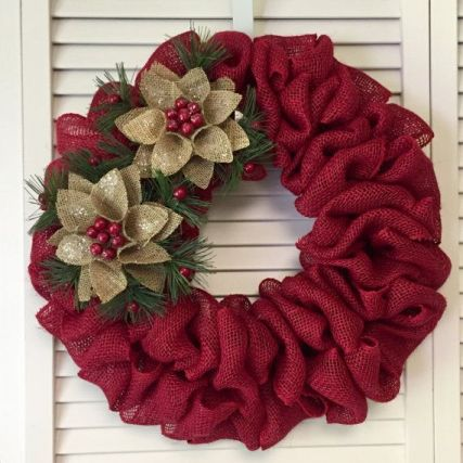 Burlap Christmas Tree Wreath 8