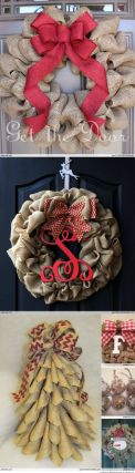 Burlap Christmas Tree Wreath 9