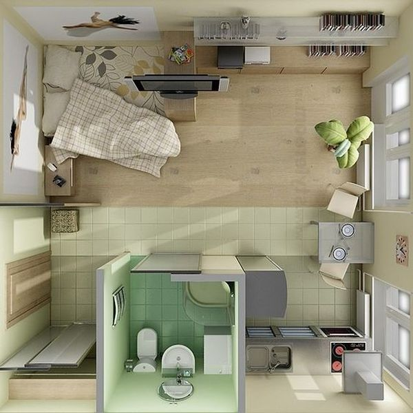 One Room Apartment: 18 Coolest Studio Apartment Layout