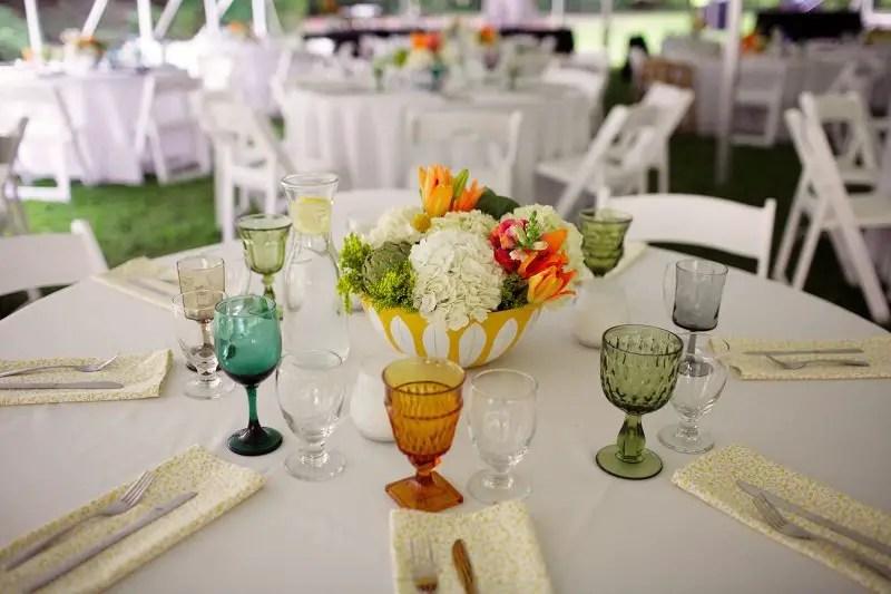 Colored Glassware On Reception Table