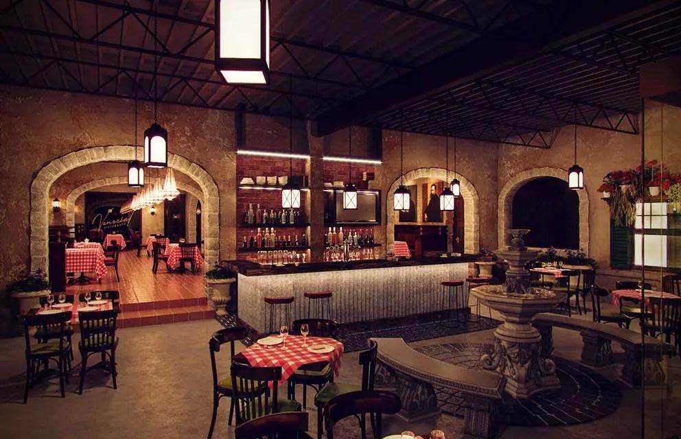 Rustic Interior Design at Classic Italian Restaurant