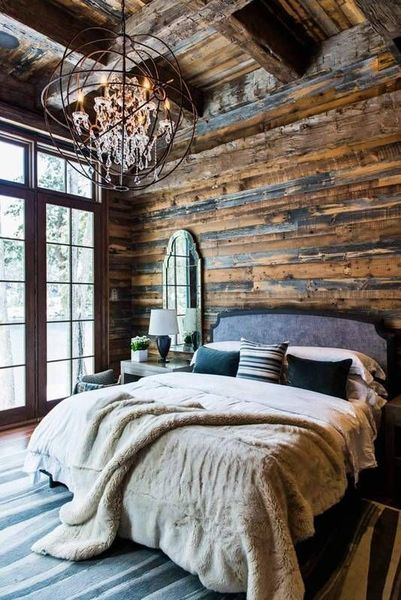 Rustic Bedroom With Wood Panel Wall