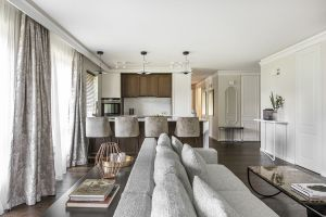 Large couch in Vilnius Apartment