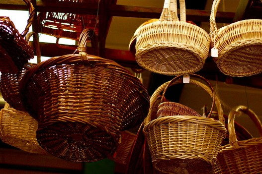Bamboo and wicker hanging basket