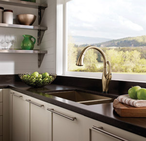 The Champagne Bronze Color of Delta Faucet's Water-Efficient Addison Faucet; Warm Metals Such as This Are Particularly Trendy for 2016, and Overall This Design Is a Stylish and Timely Choice.