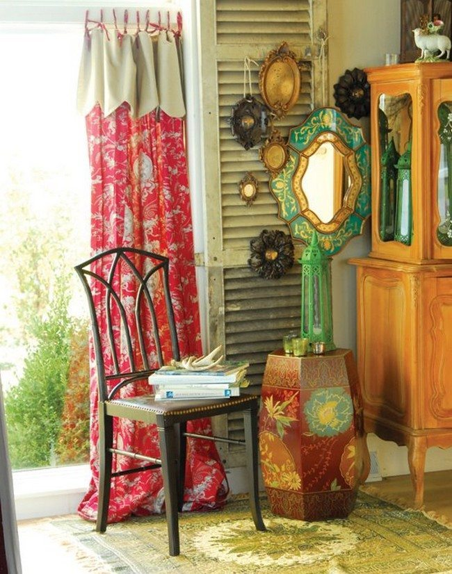 Amazing bohemian interior design   Decor Around The World metal chait with soft seater red flowers curtains