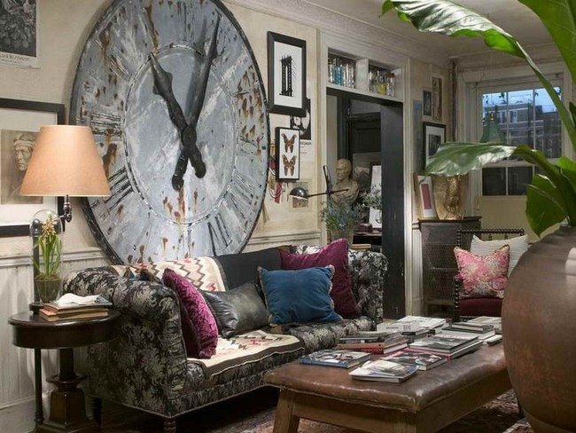 Amazing bohemian interior design   Decor Around The World big clock ont the wall under bohemian sofa