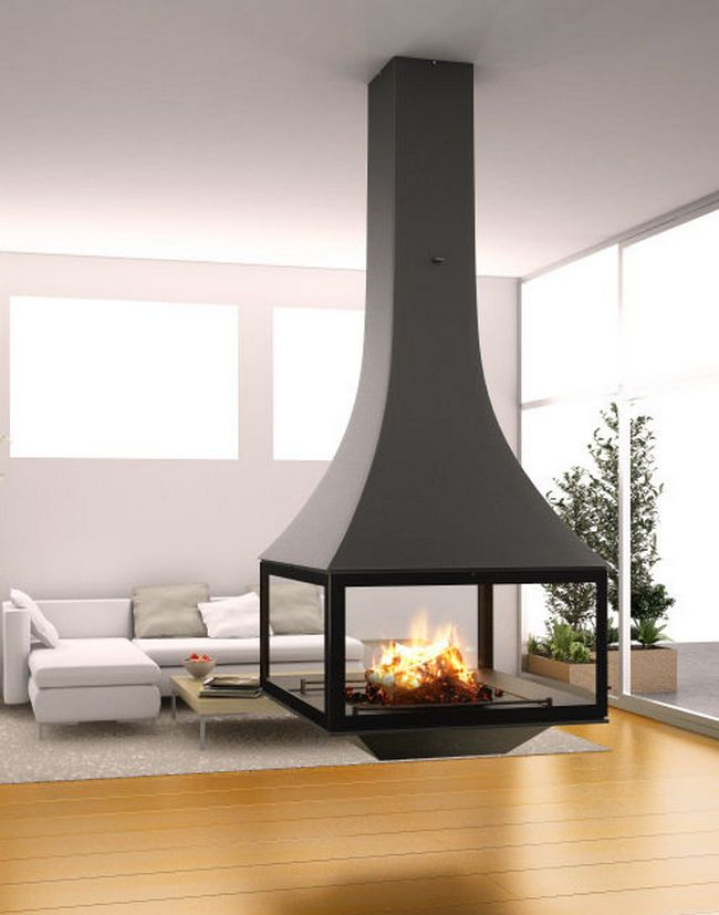 Suspended Fireplace As A Center Of Attraction Decor