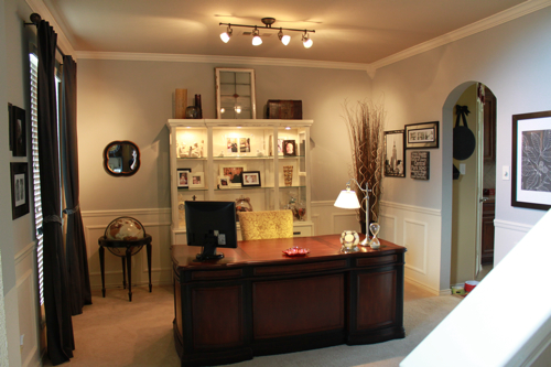 Office in dining room Pinterest And Decorchick Dining Room Turned Office Decorchick