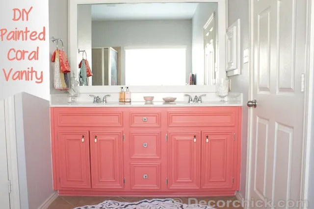 Remarkable Diy Painted Coral Vanity Decorchick Interior Design Ideas Clesiryabchikinfo