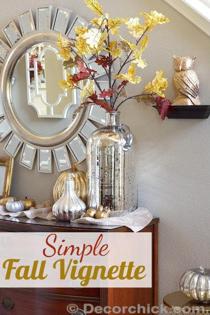 Simple Fall Decorating And Vignette With Huge Mercury
