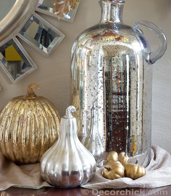 Simple Fall Decorating and Vignette | With Huge Mercury Glass Vase ...