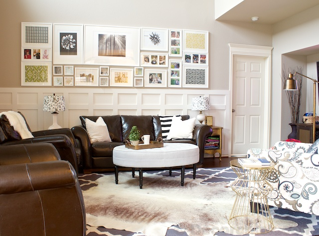 Cowhide Rug In Family Room | Www.decorchick.com