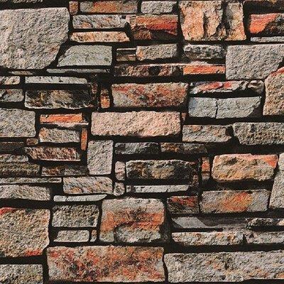 Black And Orange 3d Stone Washable Wallpaper 5sqm Decor City