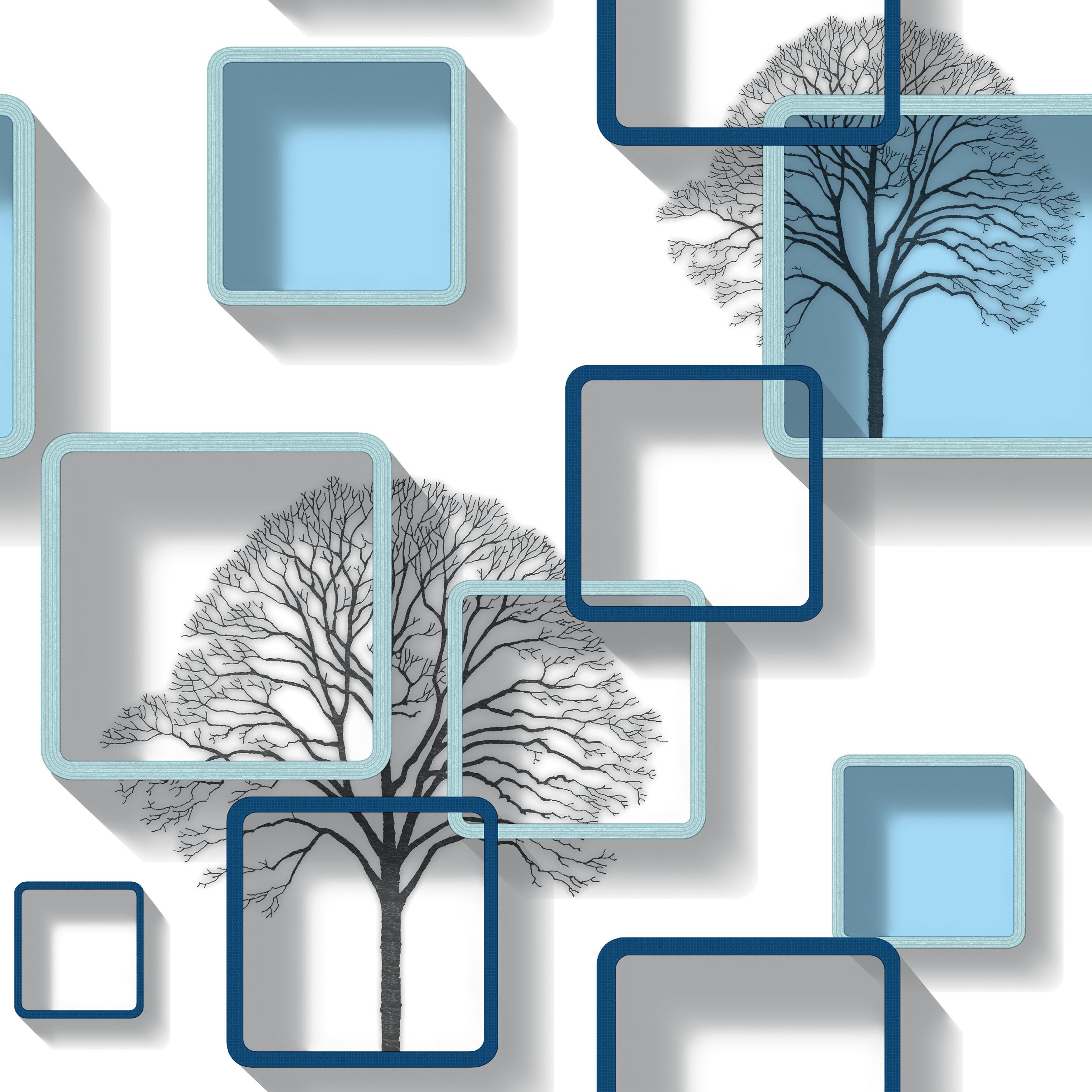 Modern Mint Blue patterned 3D Wallpaper - 8133 | Decor City