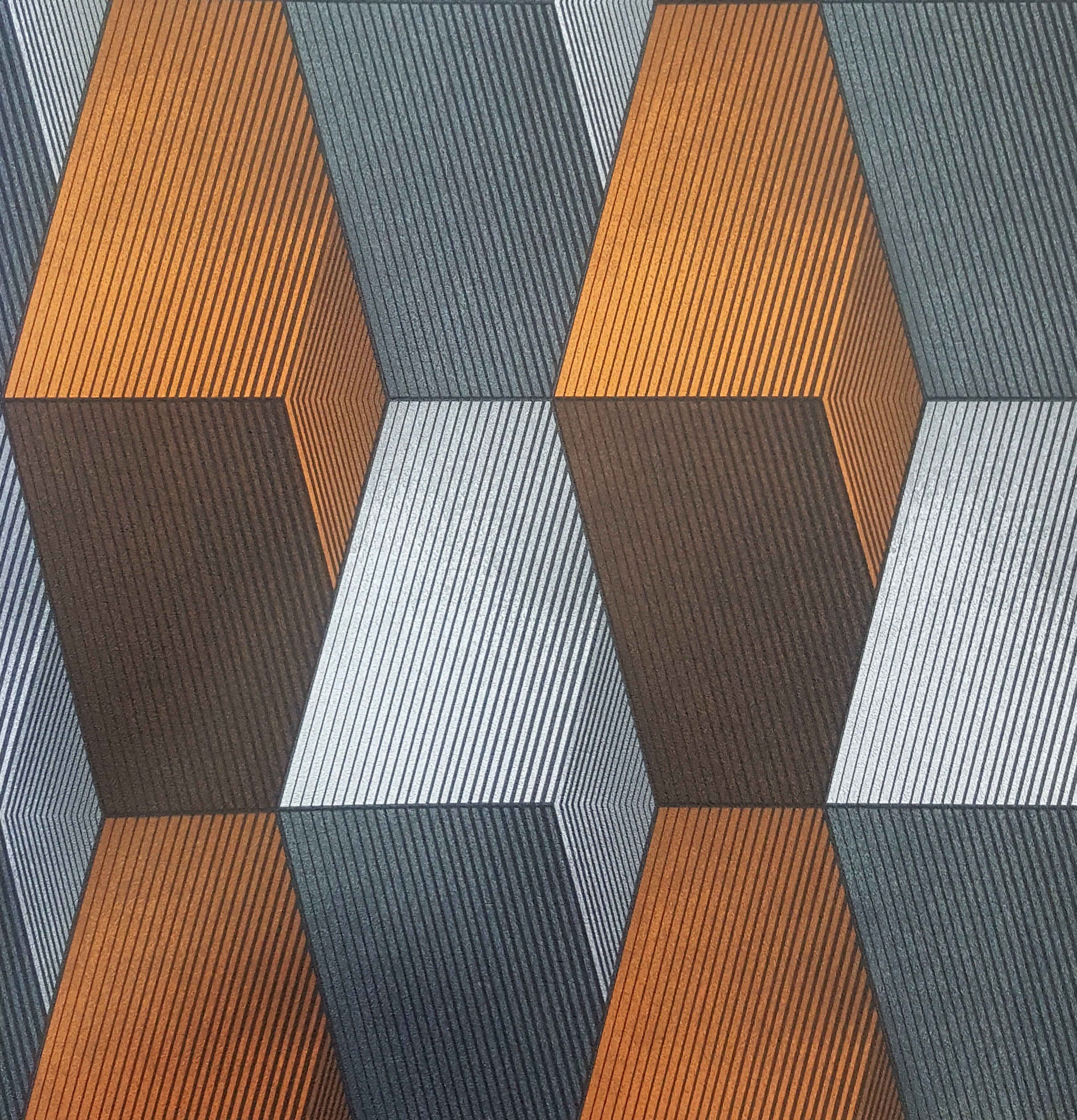 Grey And Orange Modern 3d Patterned Wallpaper X156 3031