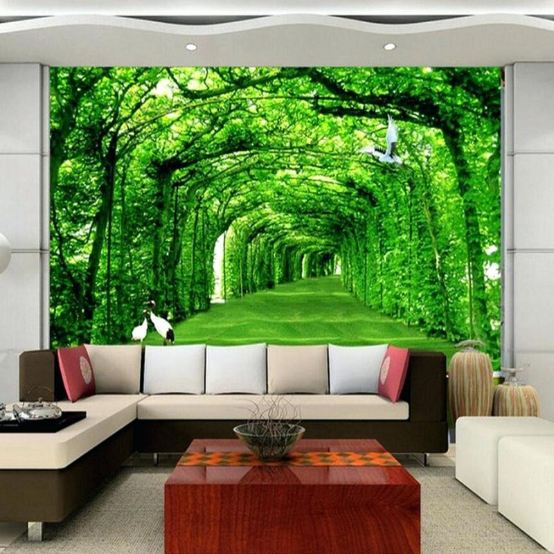 Green Leafy Trees Pathway 3d5d Custom Wall Murals Wallpapers