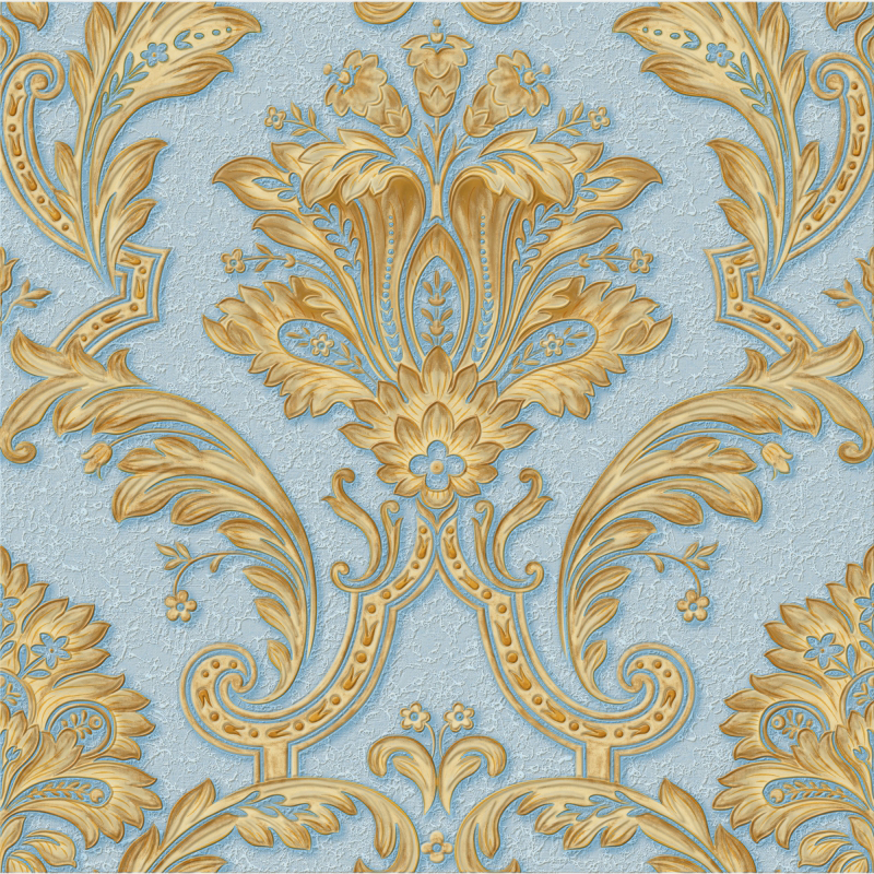 Blue And Gold Damask Wallpaper A2 140p12 Decor City