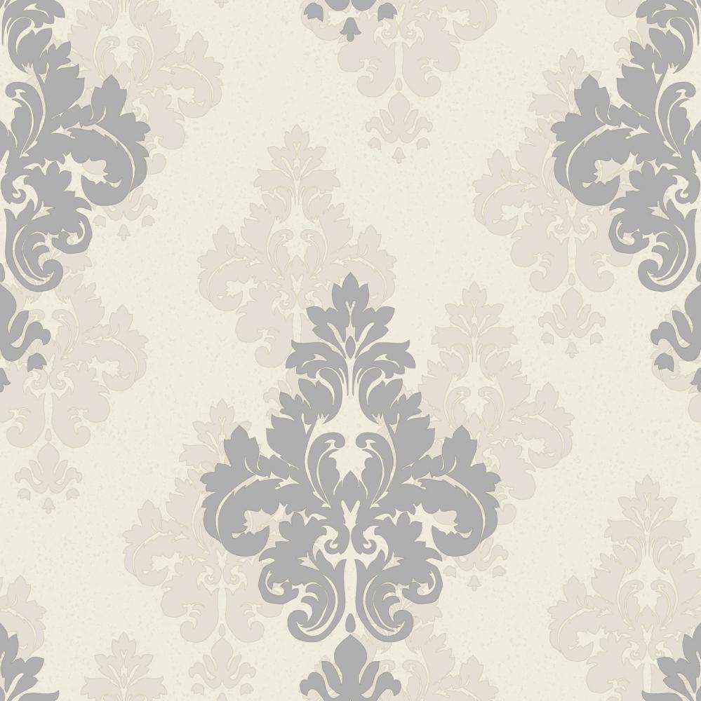 Grey Damask Patterned Wallpaper A8 34p37 Decor City