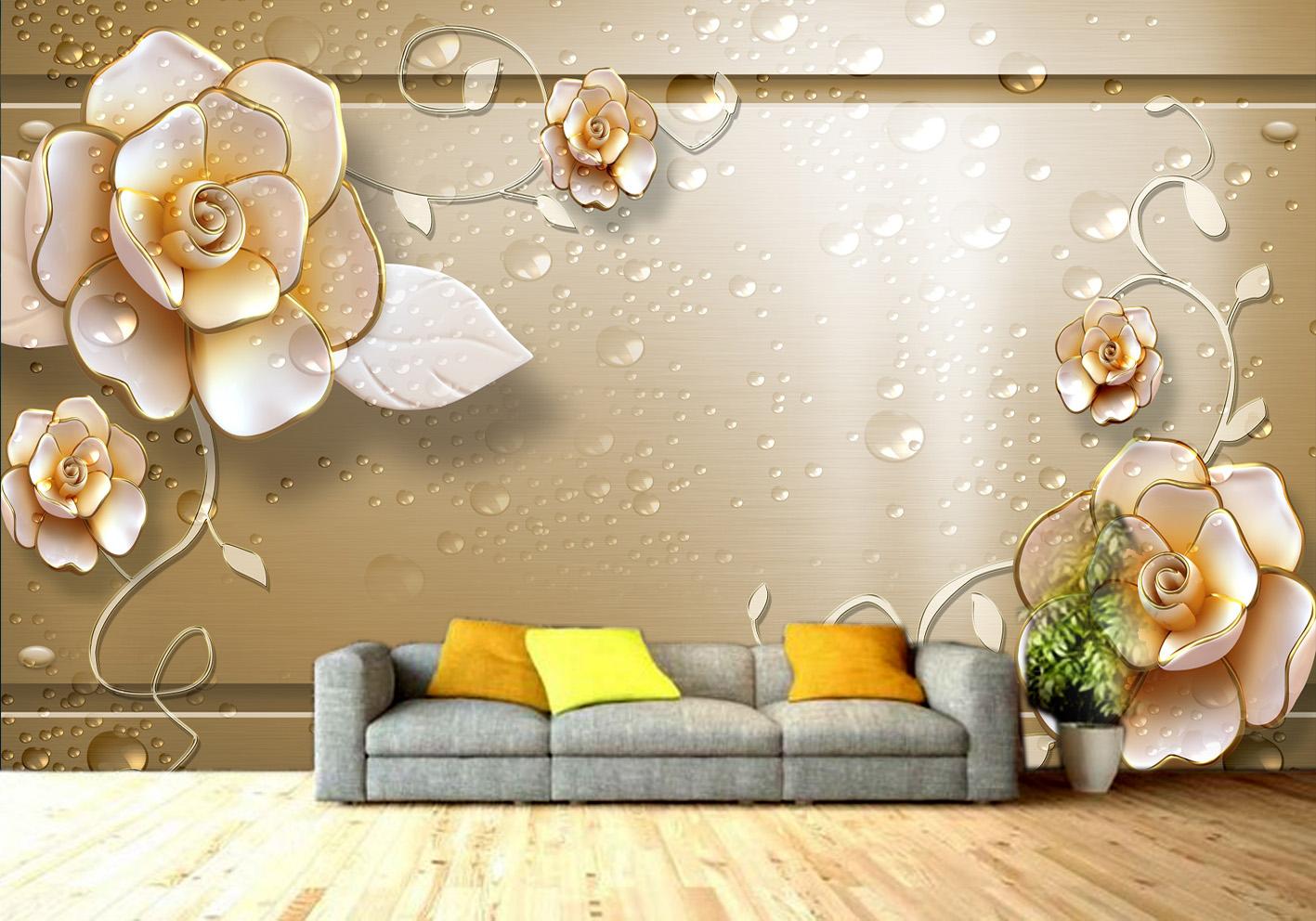 Brown Gold 3d Floral Custom Photomural Wallpaper Dcwm000543