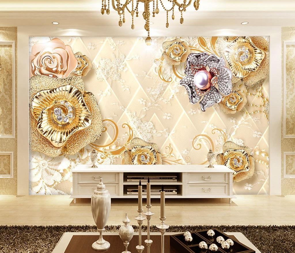 Gold floral 13D / 13D / 13D wall murals / custom wallpaper design -  DCWM200611376