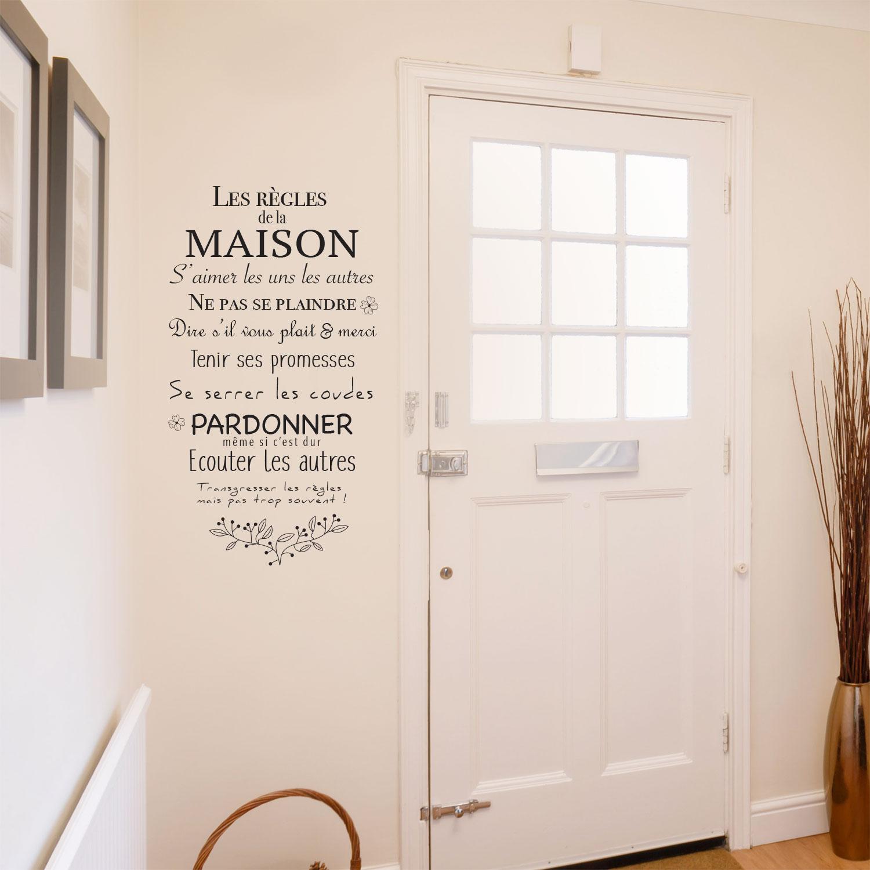 Sticker Sur Les Rgles De La Maison Et De La Famille Pour Murs