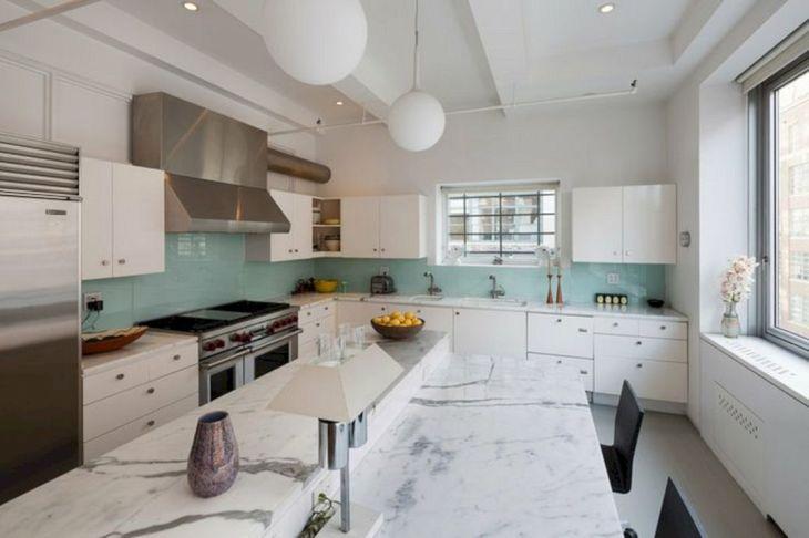 40 Blue Glass Tile Kitchen Backsplash