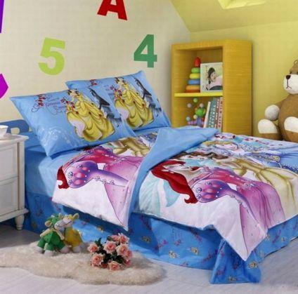 Blue Disney princesses bedding